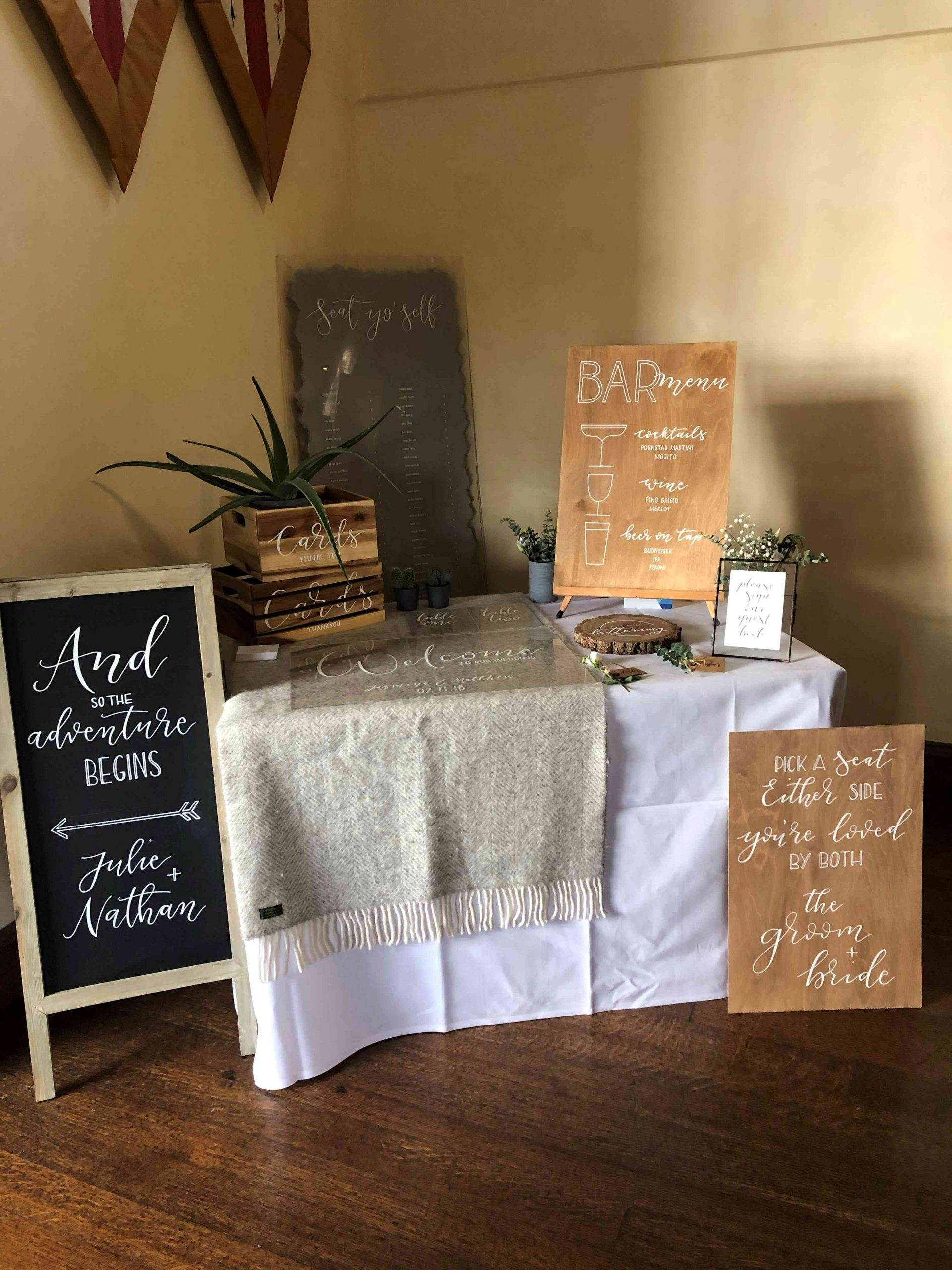 Wedding signs, table plan