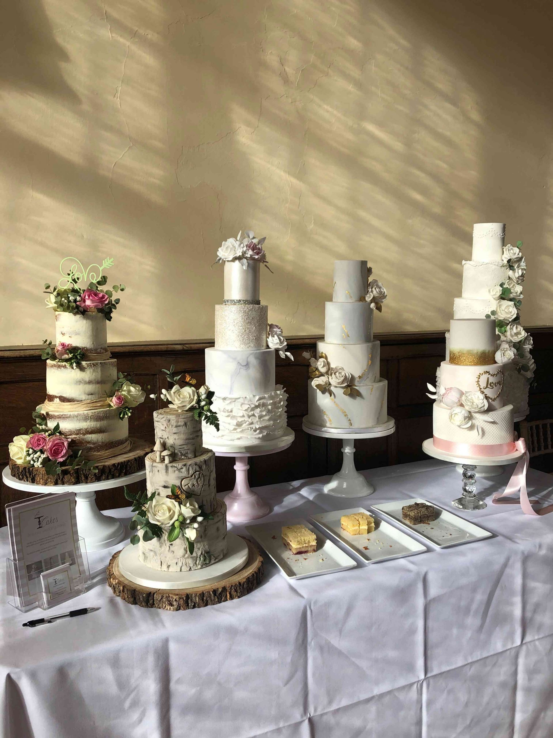 Display of wedding cakes