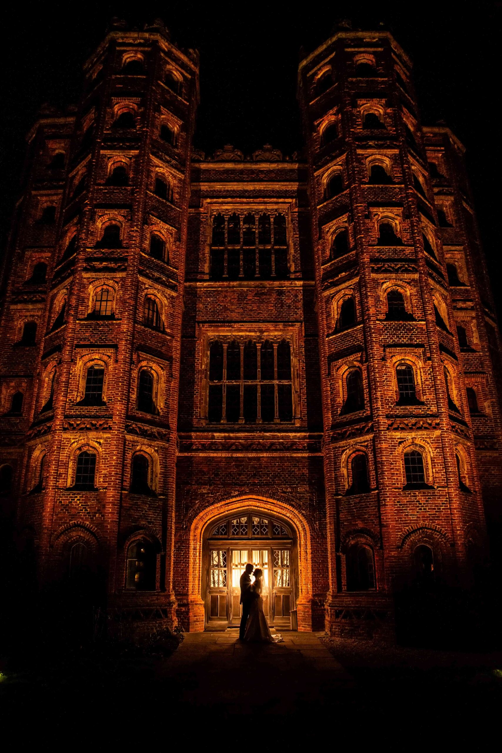 Dramatic tower at night