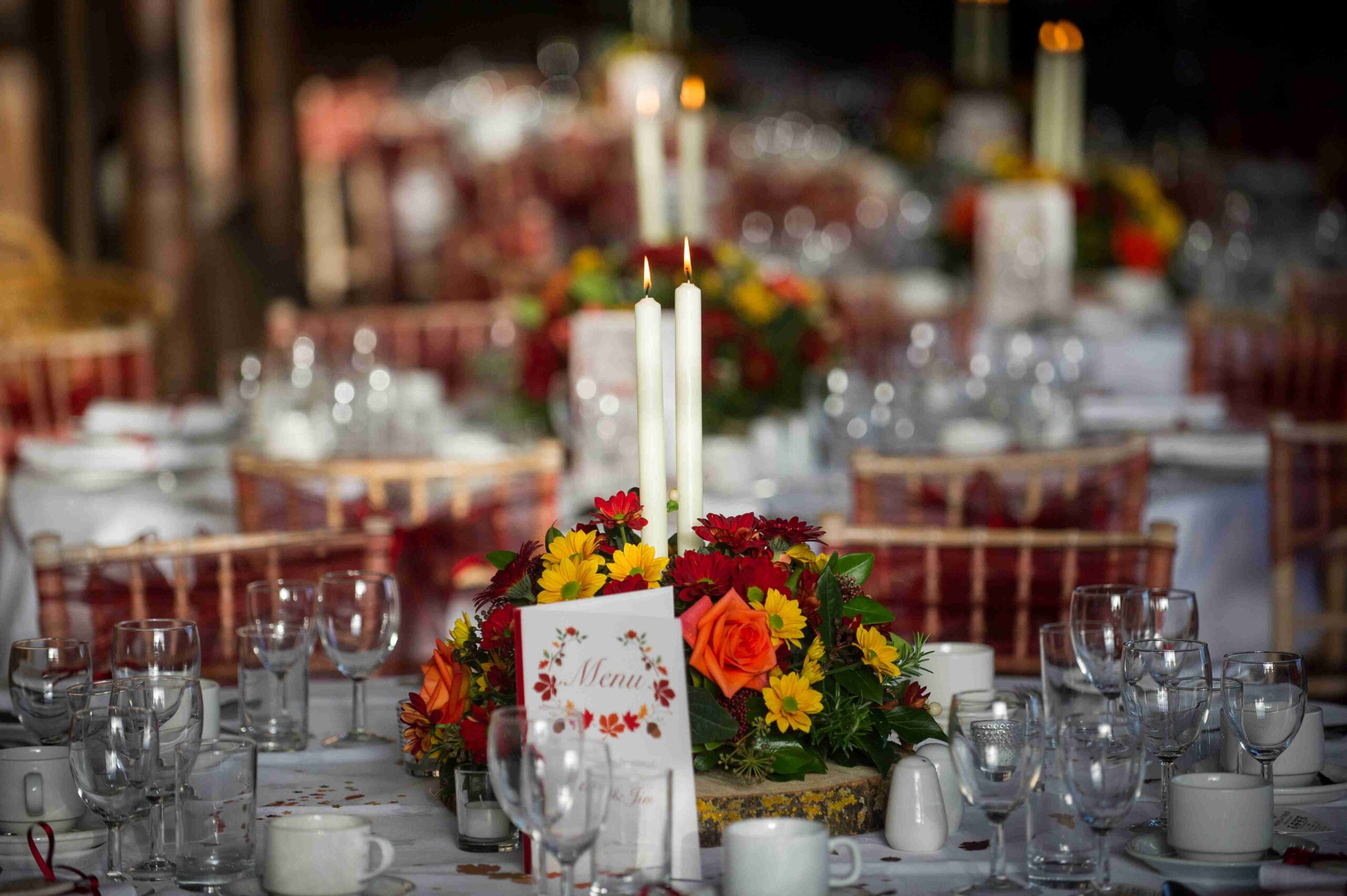 Wedding centrepiece with candles