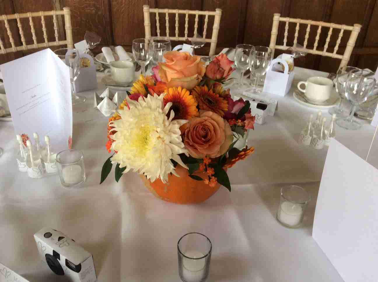 Pumpkin wedding centrepiece