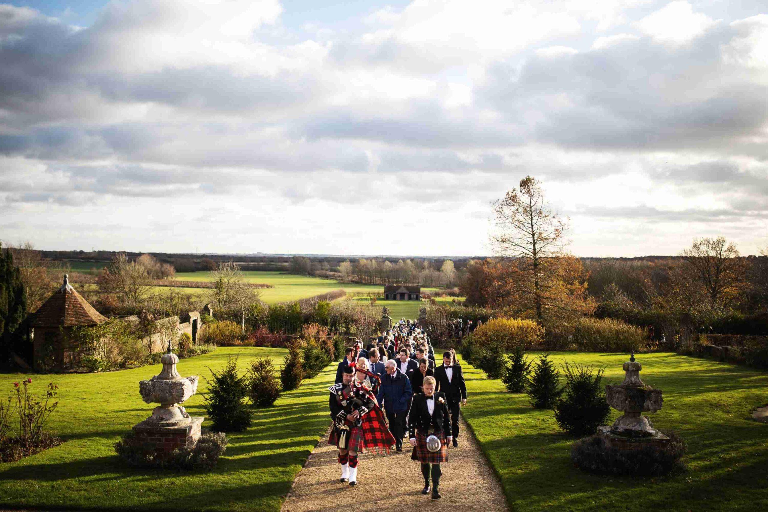 Wedding party in garden during November