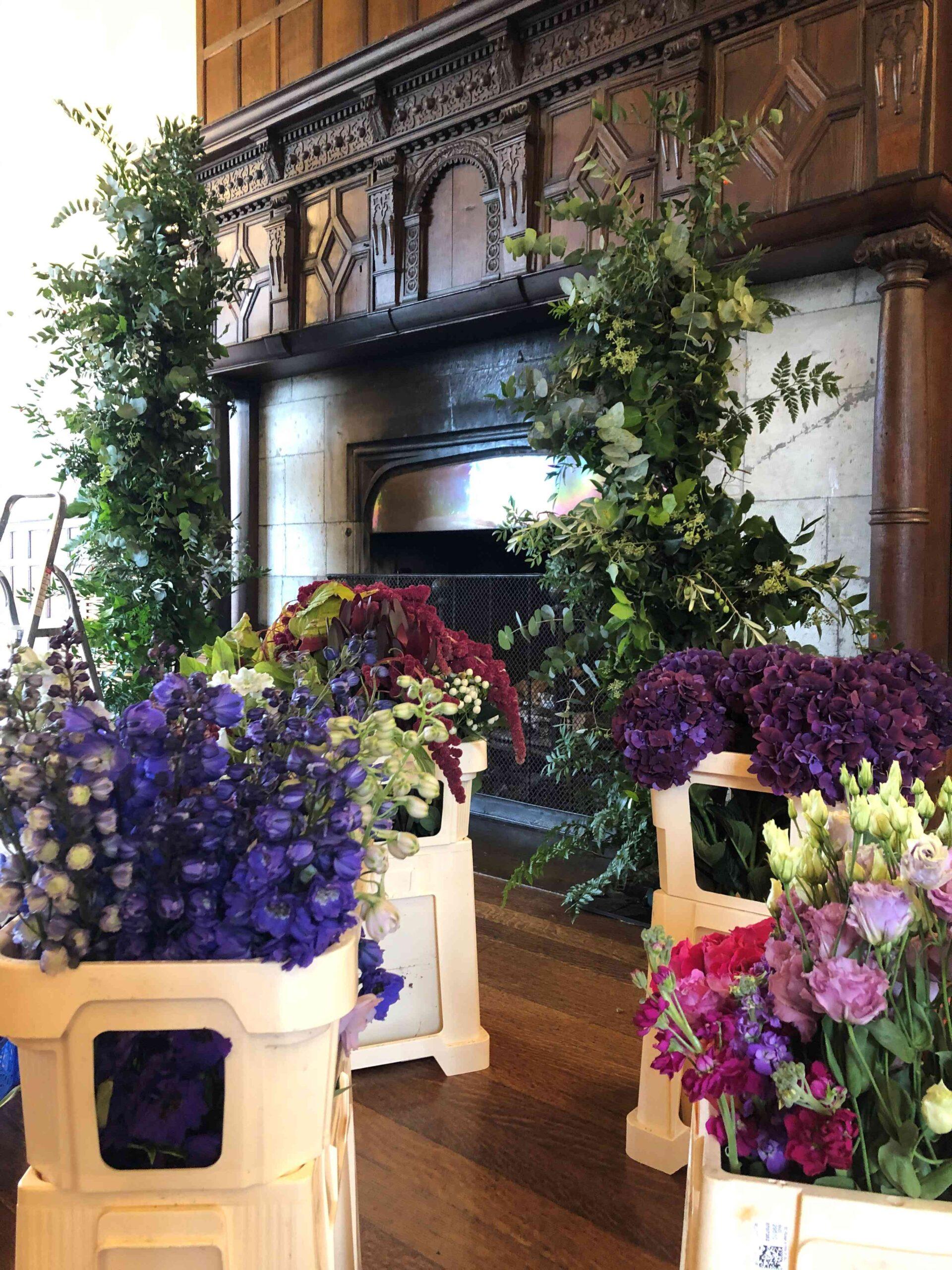 Wedding Flowers, Fireplace