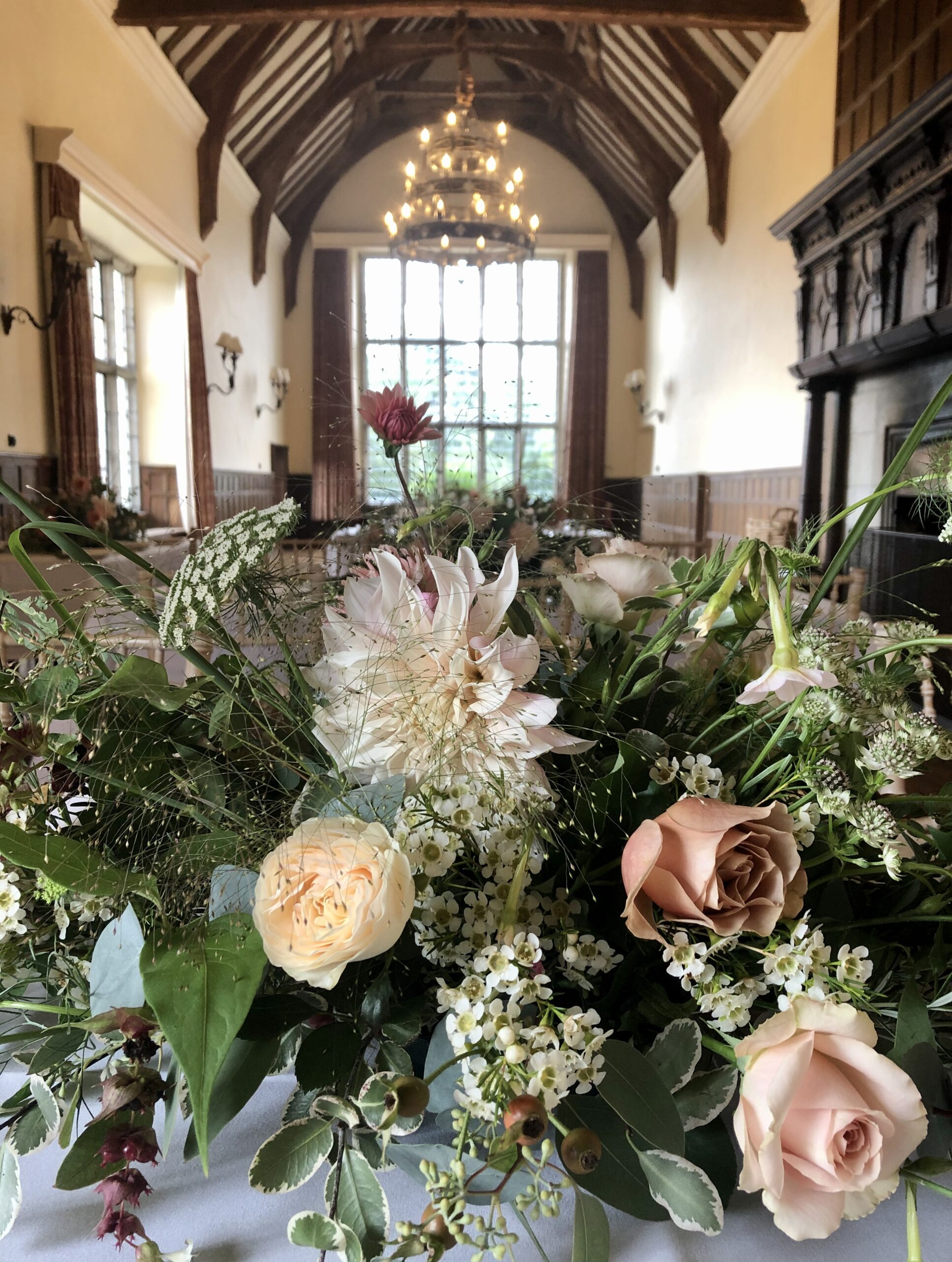 Floral centrepiece for wedding breakfast