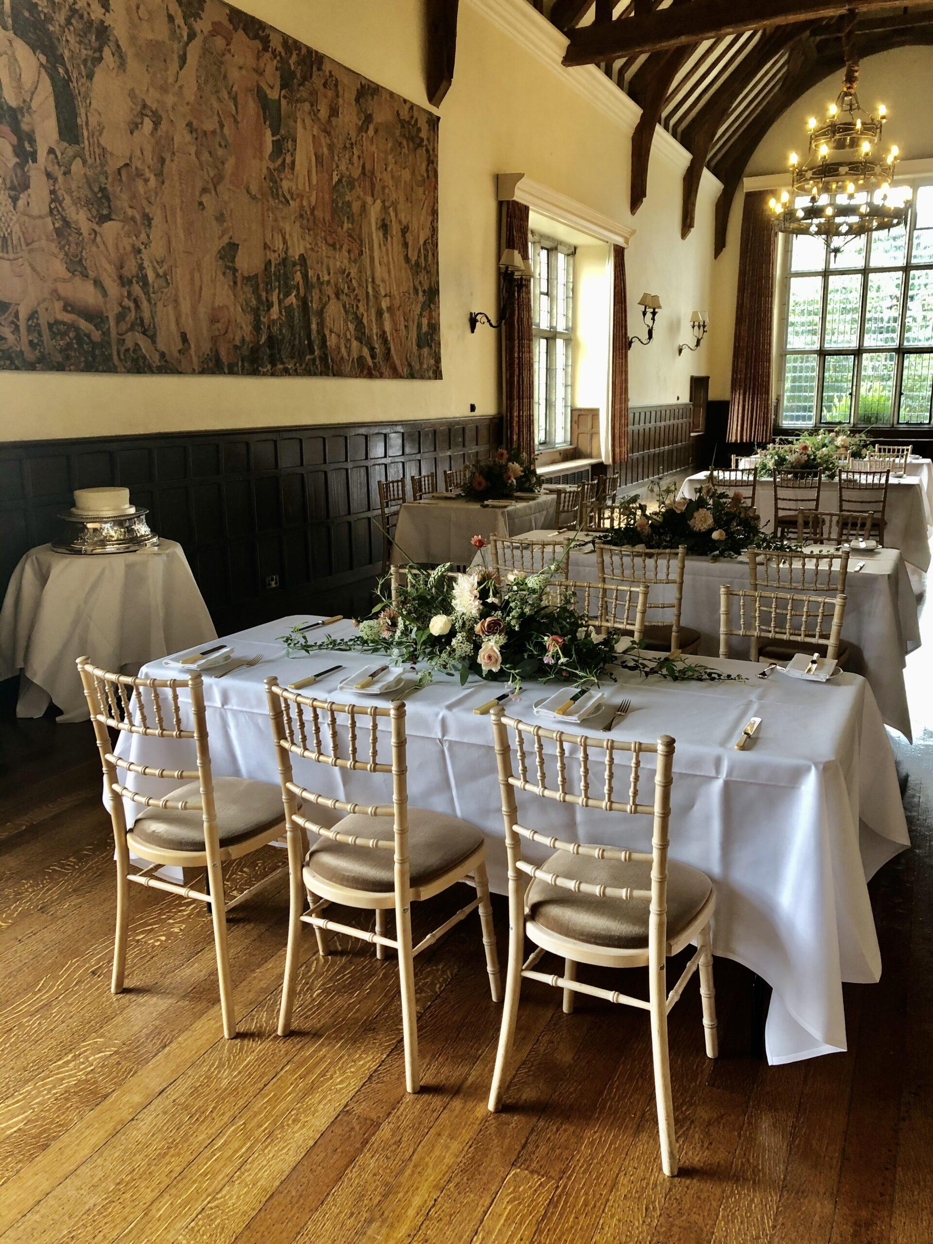 Wedding breakfast table arrangement for 30 guests