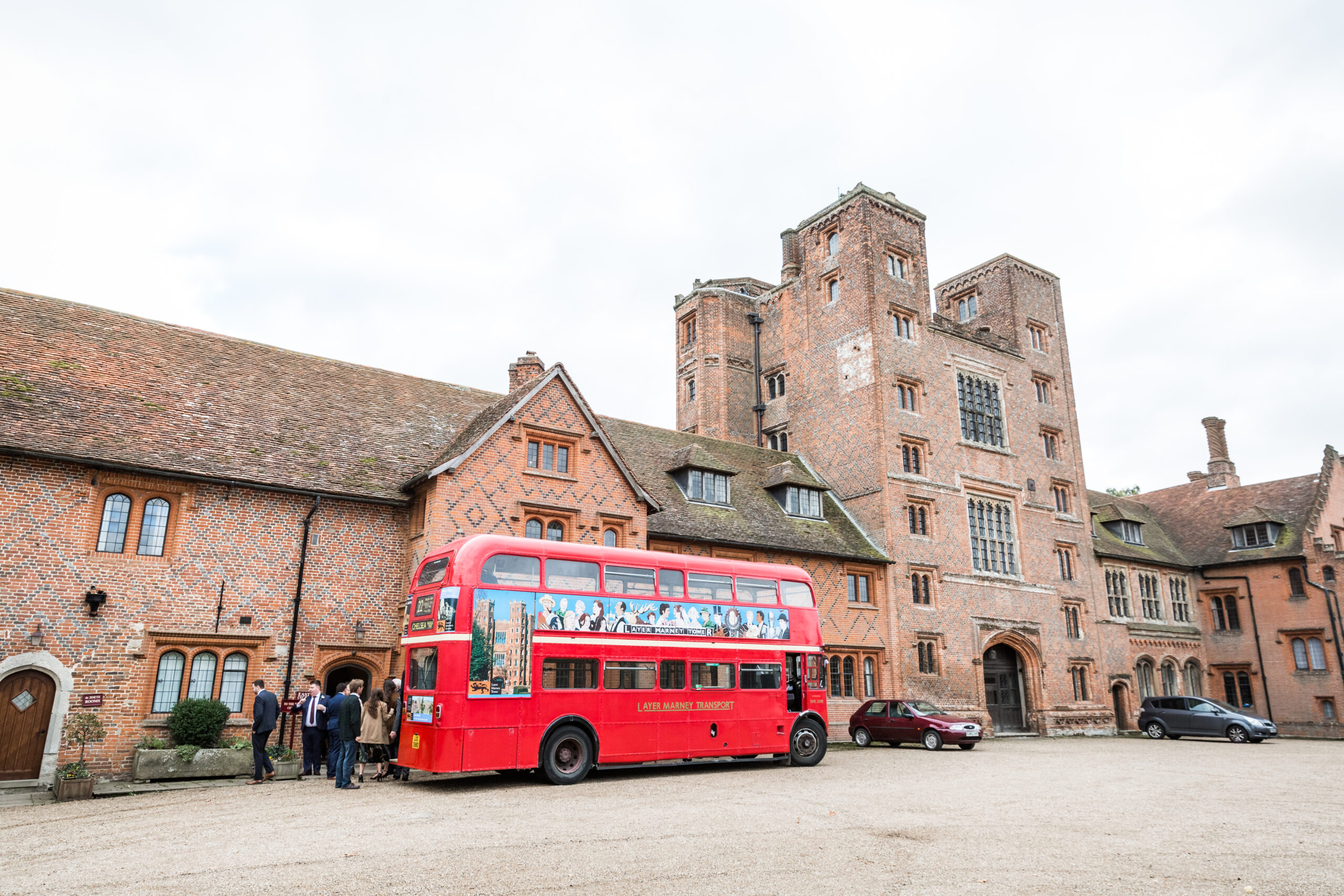 Routemaster bus dropping of guests at wedding venue