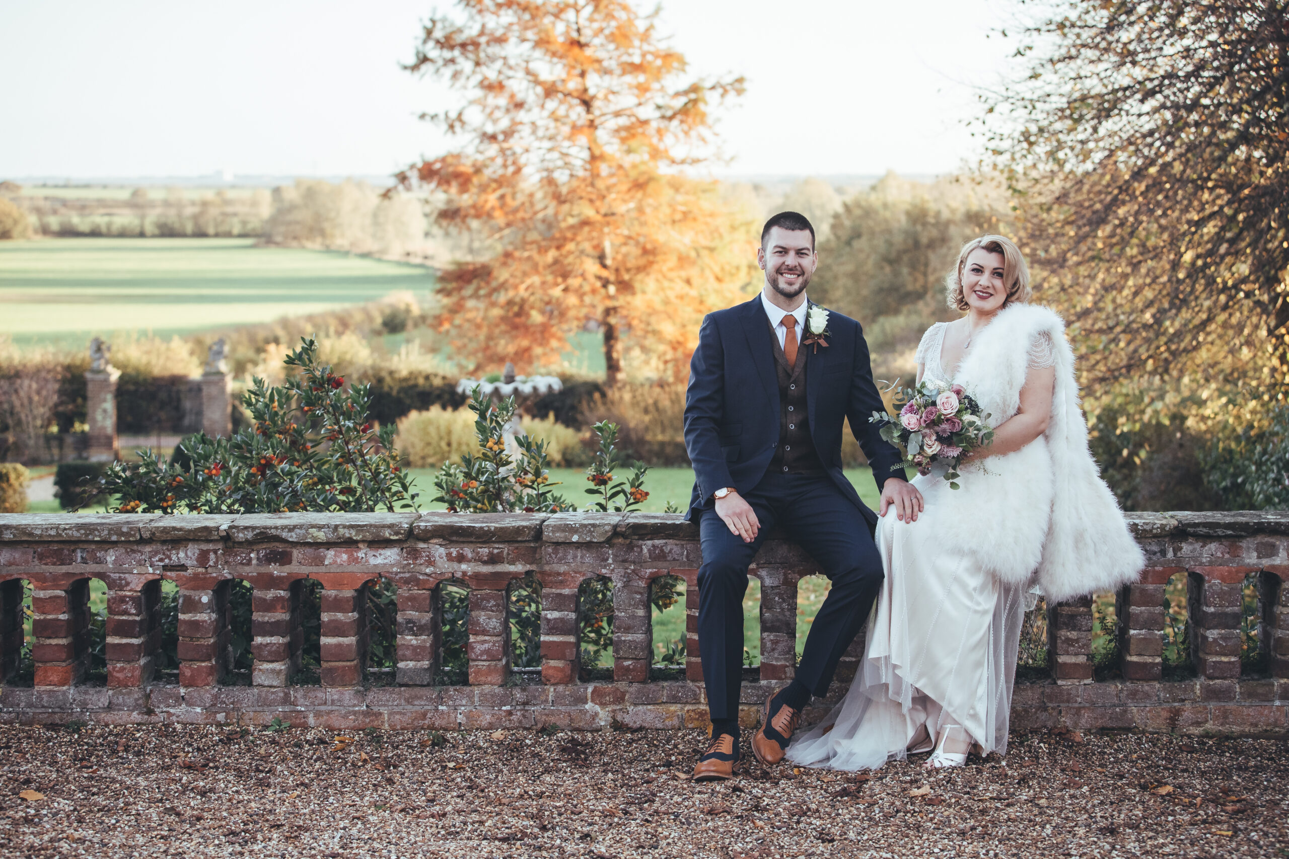 Bride and Groom, Autumn wedding garden photo