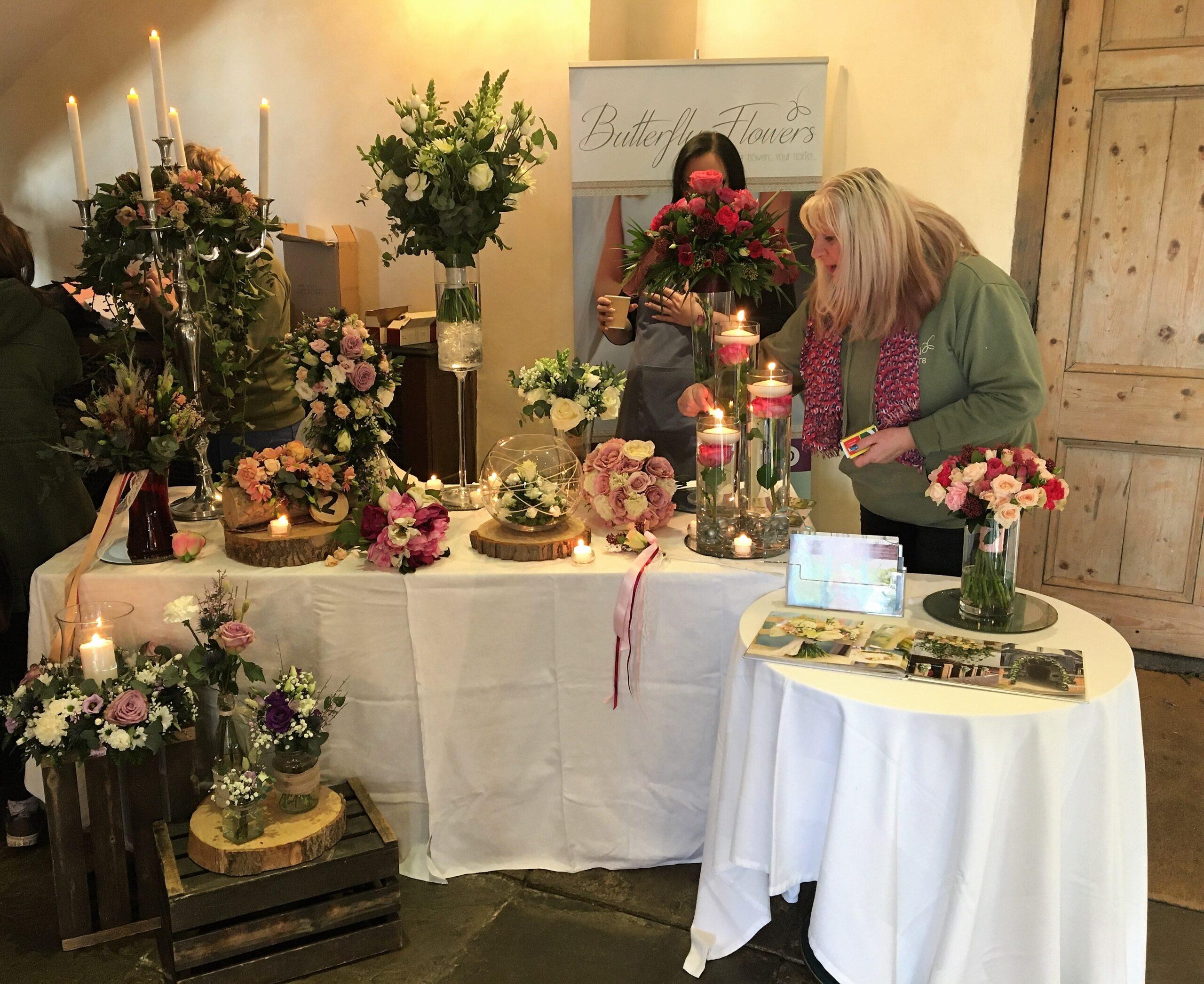 Floral displays at wedding fayre