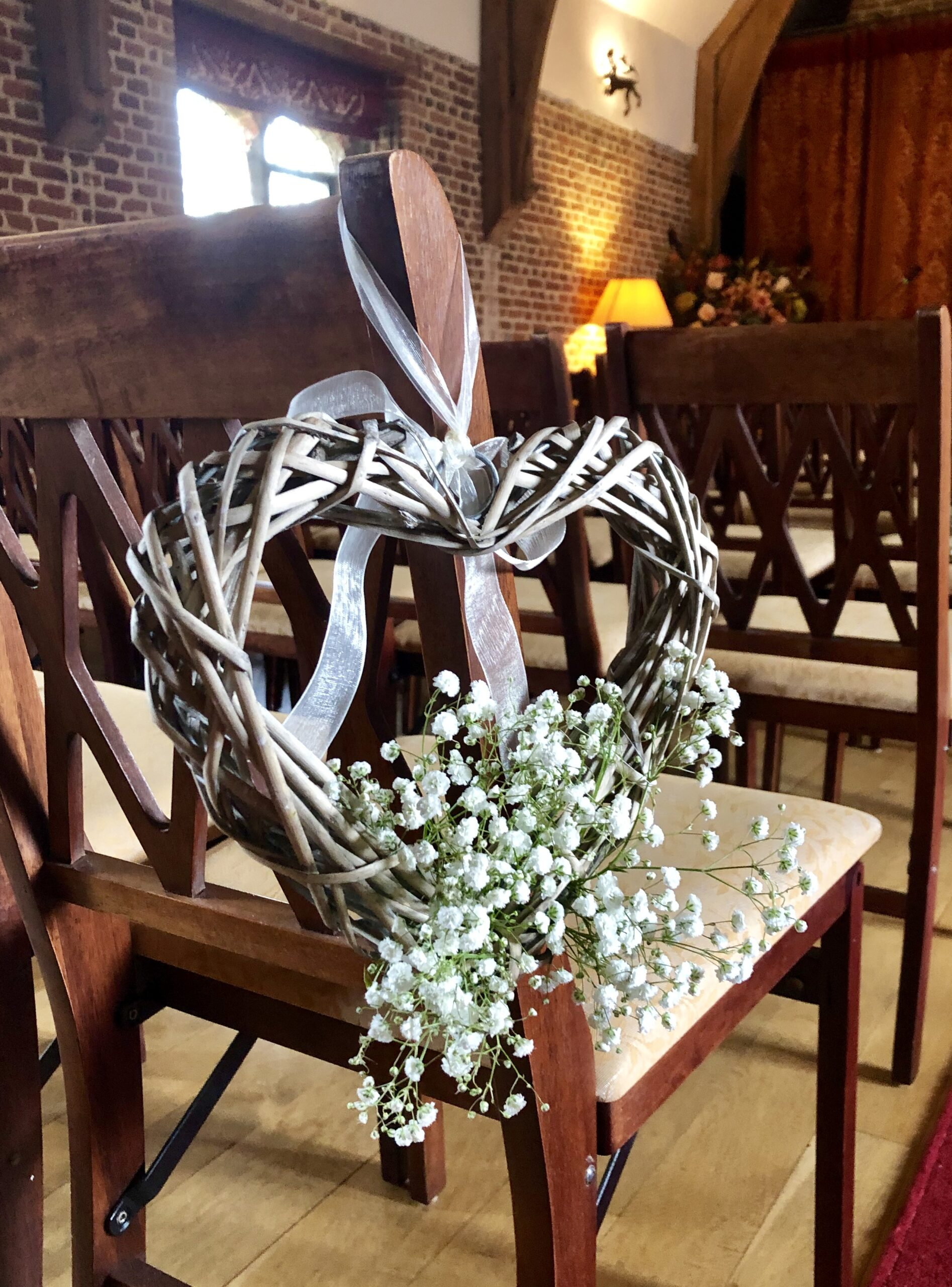 Wedding ceremony room chair decoration