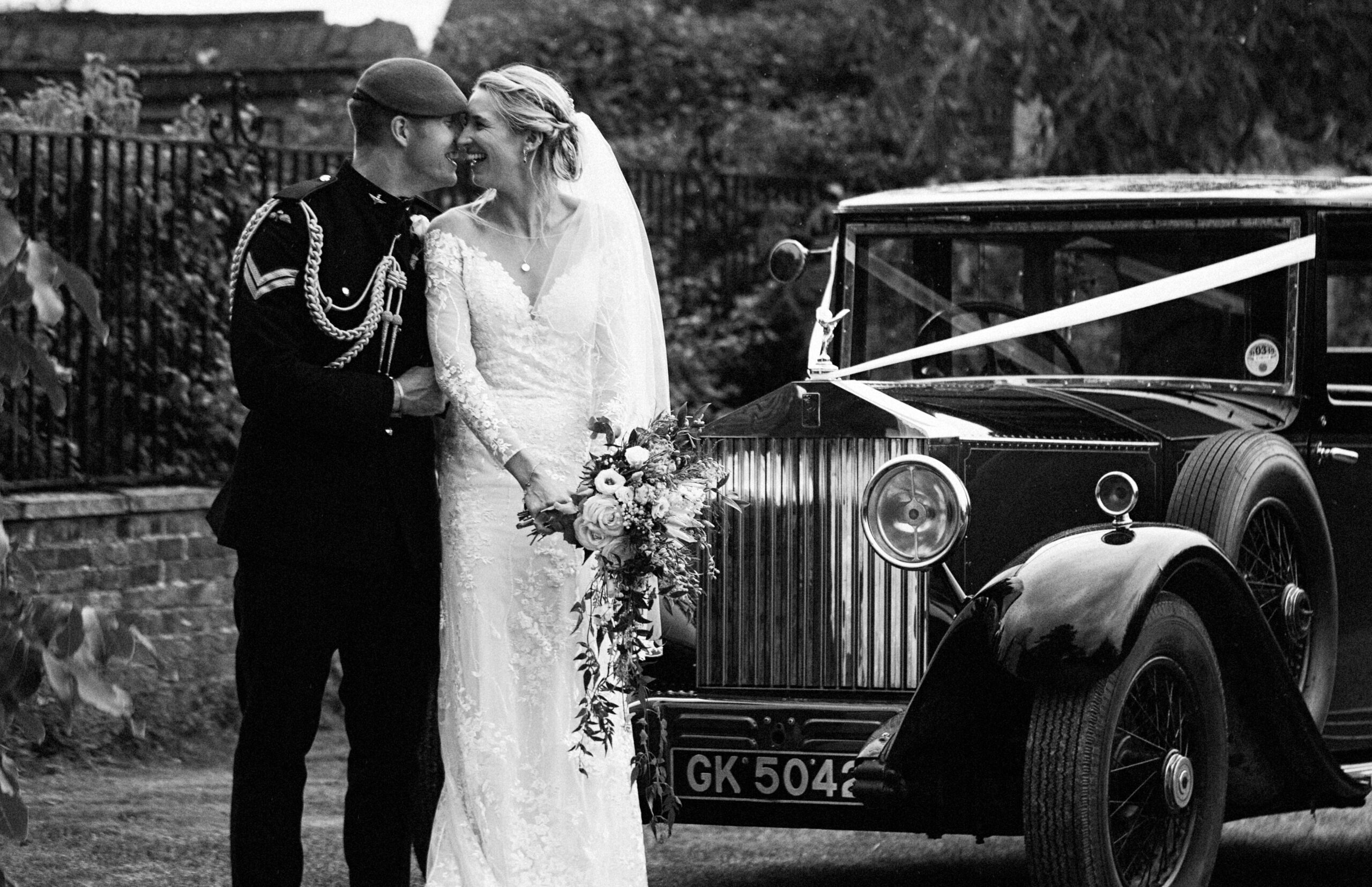 The happy couple pictured on arrival here after their church wedding